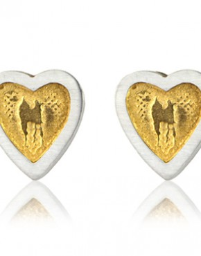 Heart Stud Earrings with Golden Centre