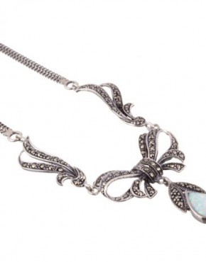 Marcasite & Opalite Bow Necklace