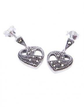 Marcasite Heart Drop Earrings