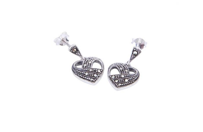 189a0014d Marcasite Heart Earrings - Adorn Jewellers of Chesterfield