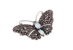 Marcasite & Opalite Butterfly Brooch