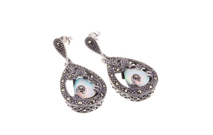 aea06f6df Marcasite and Opalite Peardrop Earrings Earrings, Gemstone Earrings, Silver  Earrings