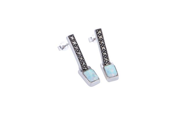 7c98fcfb4 Marcasite and Opalite Rectangle Earrings - Adorn Jewellers of ...