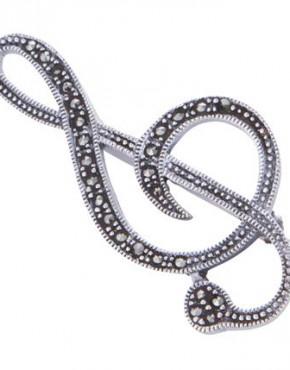 marcasite treble clef brooch