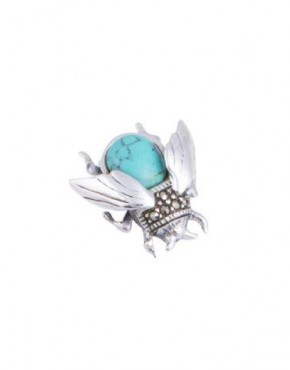 marcasite and turquoise bumblebee brooch