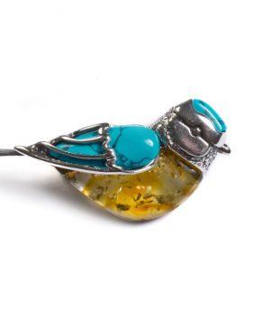 Billy Blue Tit Bird Brooch