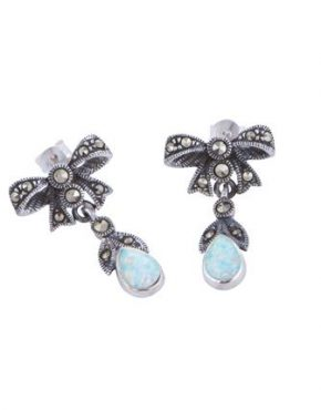 marcasite and opalite bow earrings