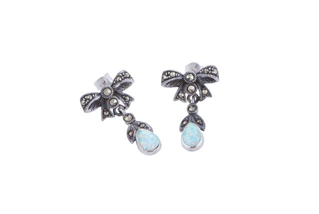 2151b44a4 Marcasite and Opalite Bow Earrings - Adorn Jewellers of Chesterfield